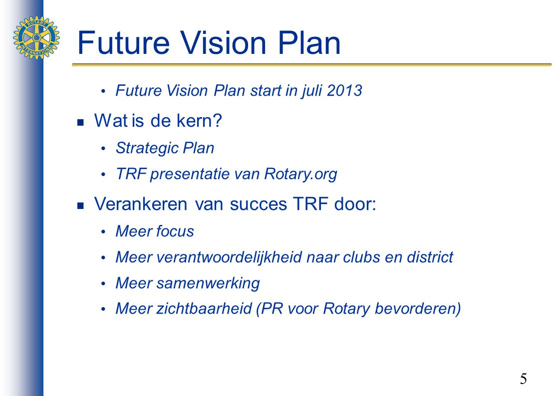 Future Vision Plan Wat is de kern Verankeren van succes TRF door: