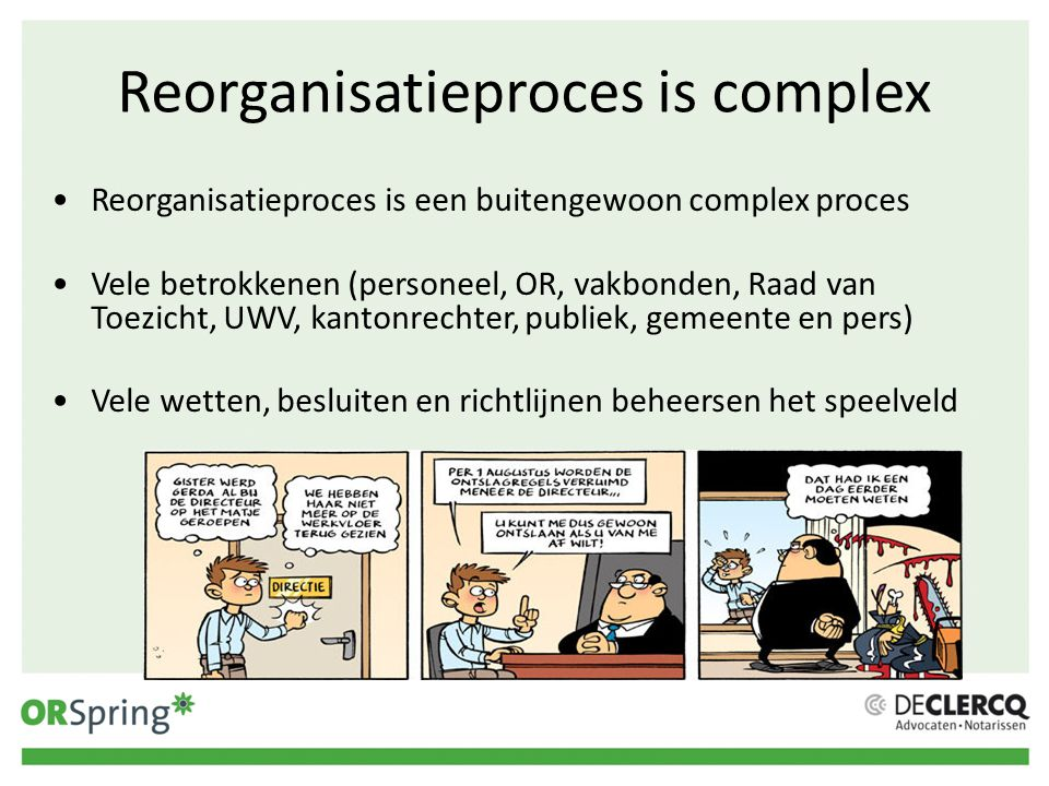 Reorganisatieproces is complex