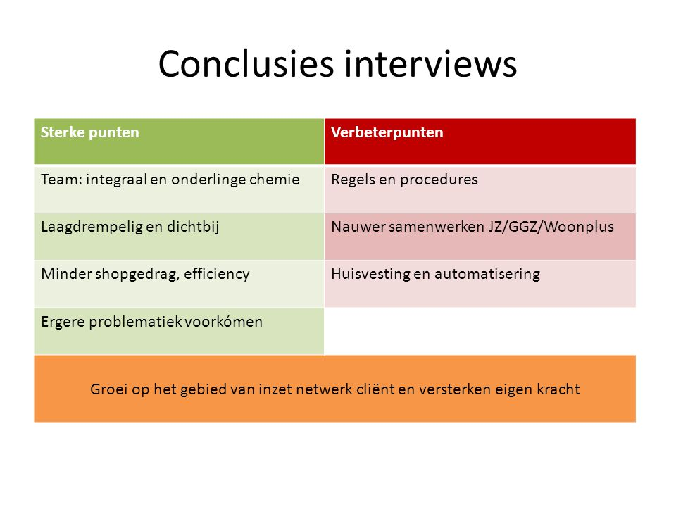 Conclusies interviews