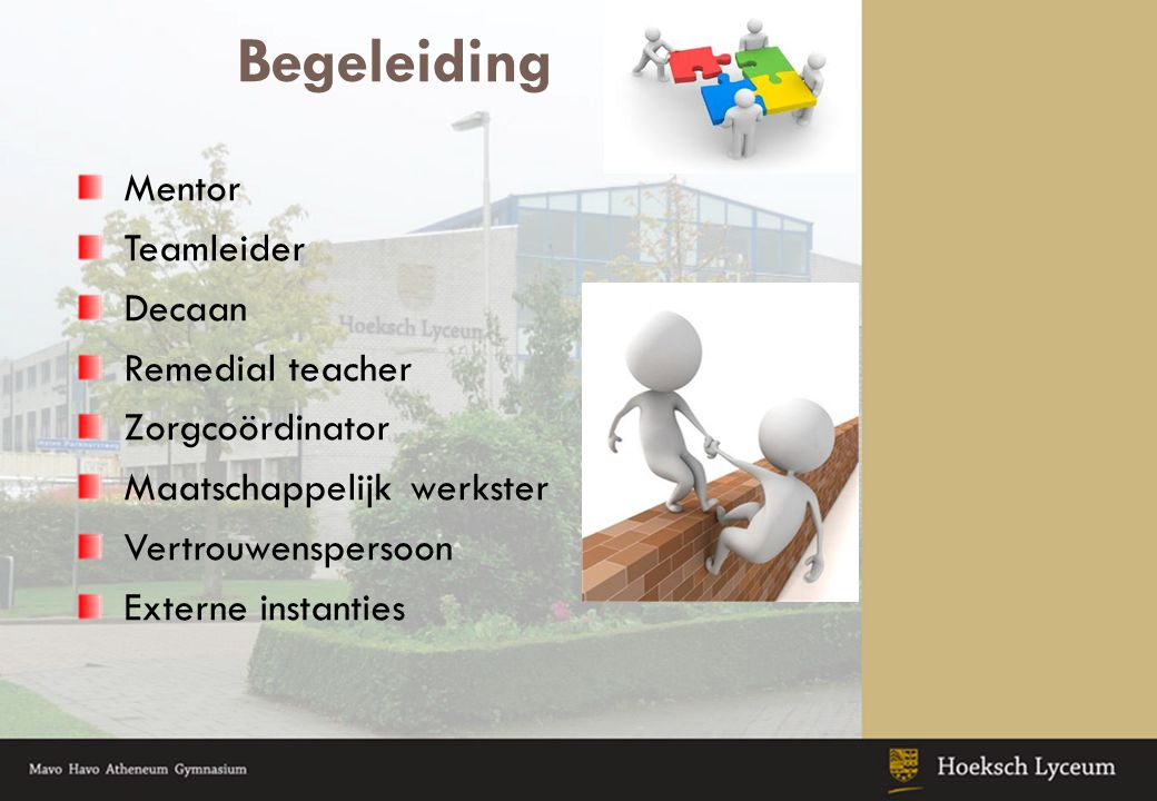 Begeleiding Mentor Teamleider Decaan Remedial teacher Zorgcoördinator