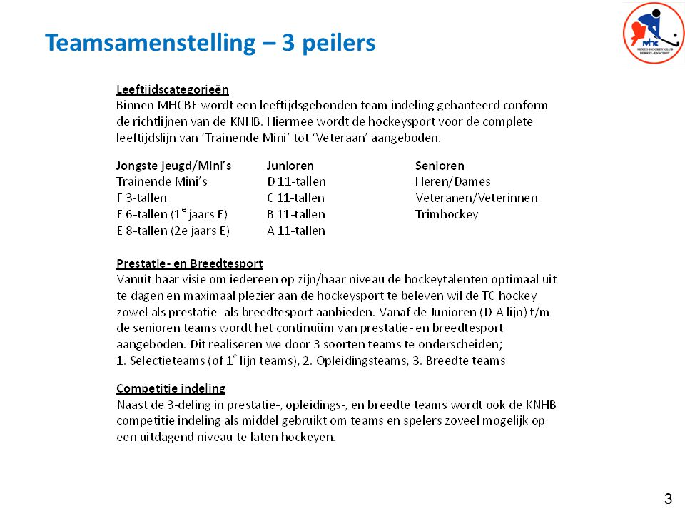 Teamsamenstelling – 3 peilers
