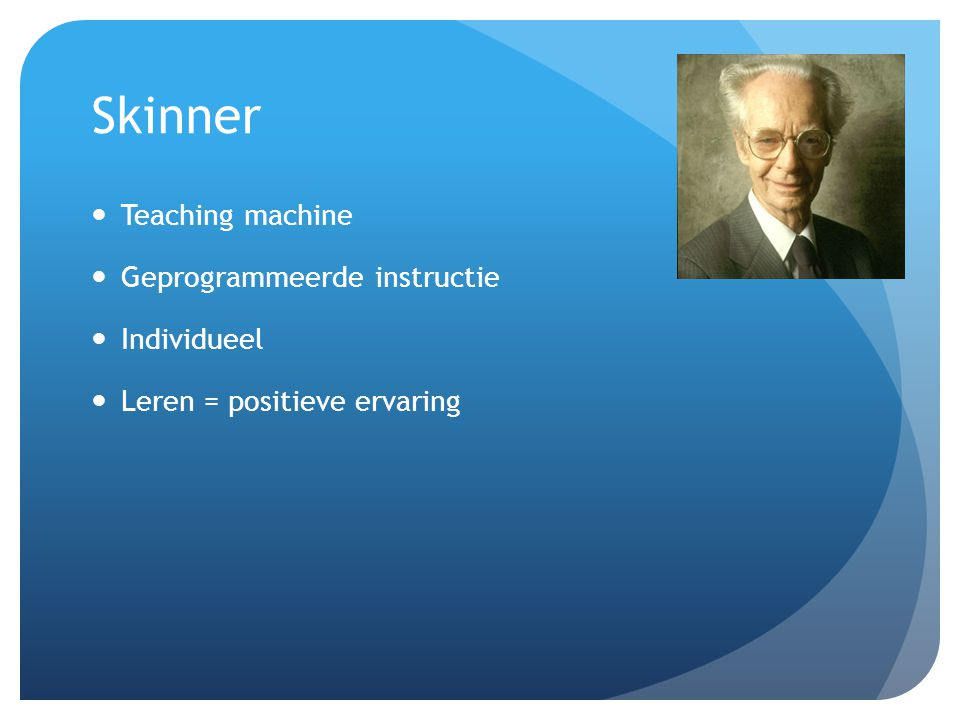 Skinner Teaching machine Geprogrammeerde instructie Individueel