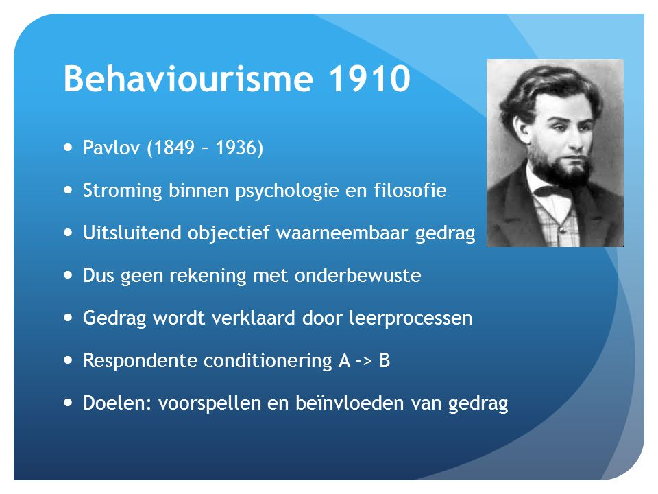 Behaviourisme 1910 Pavlov (1849 – 1936)