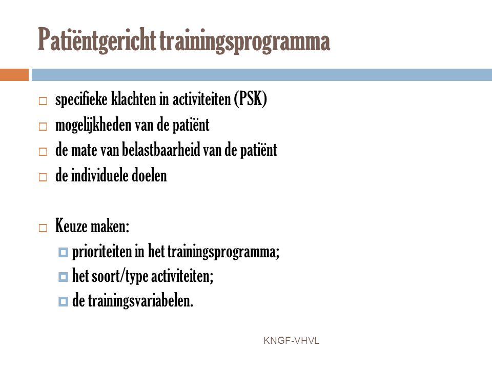 Patiëntgericht trainingsprogramma