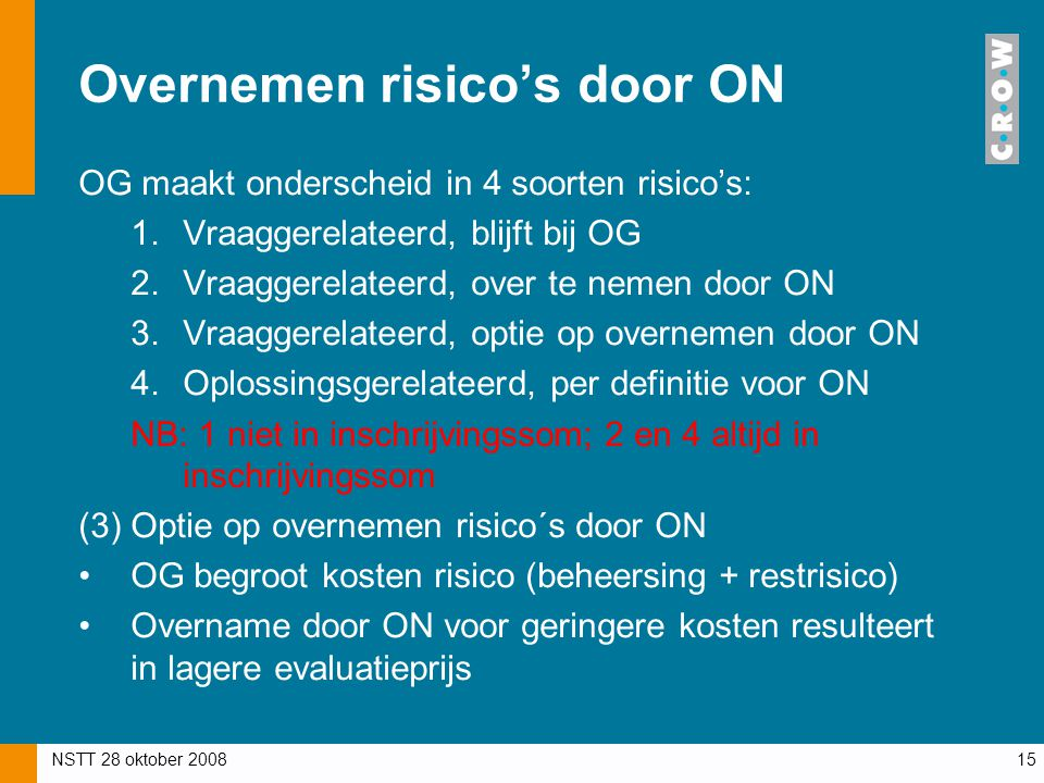 Overnemen risico's door ON