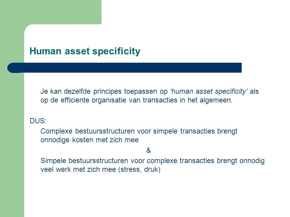 Human asset specificity