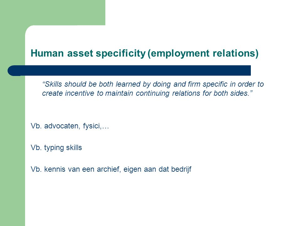 Human asset specificity (employment relations)