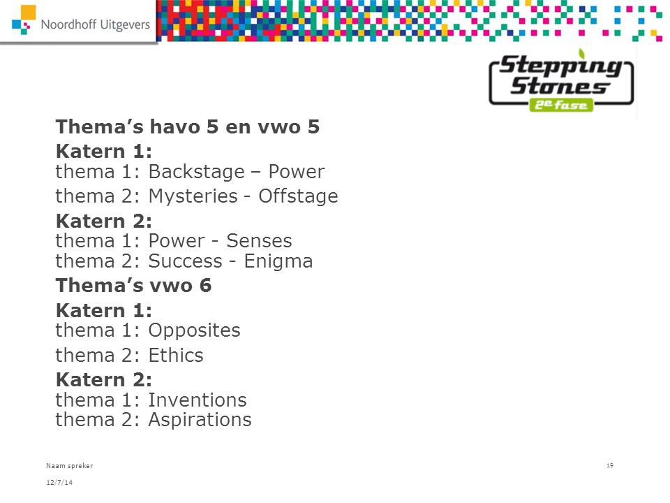 Katern 1: thema 1: Backstage – Power thema 2: Mysteries - Offstage