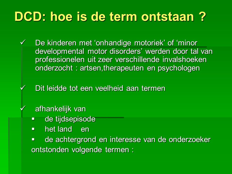 DCD: hoe is de term ontstaan
