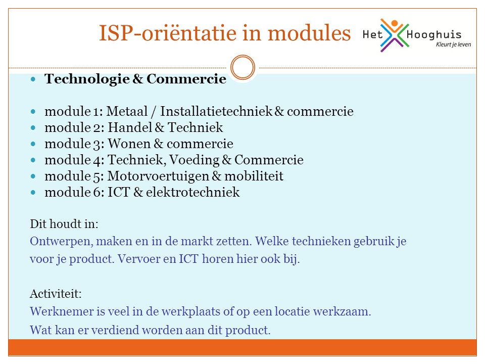ISP-oriëntatie in modules
