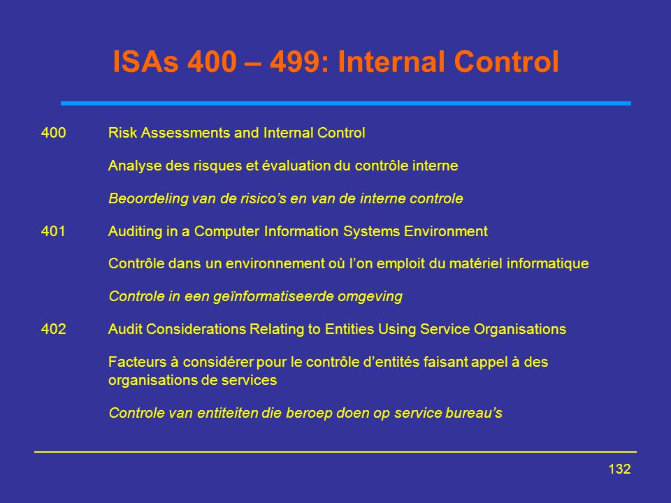 ISAs 400 – 499: Internal Control