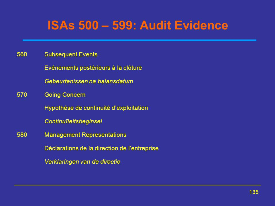 ISAs 500 – 599: Audit Evidence 560 Subsequent Events