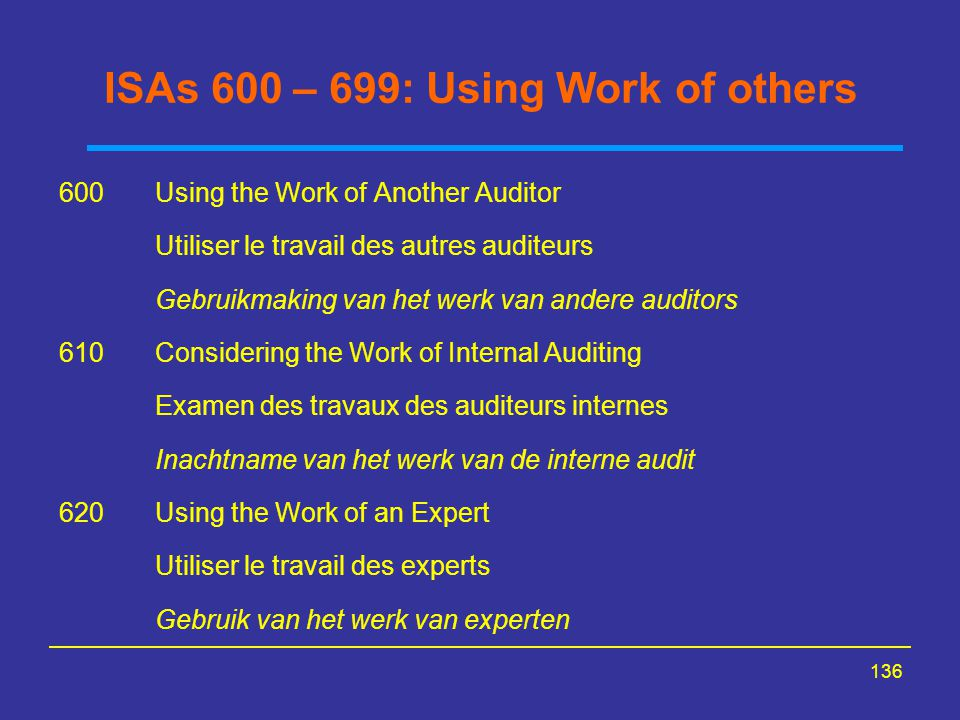 ISAs 600 – 699: Using Work of others