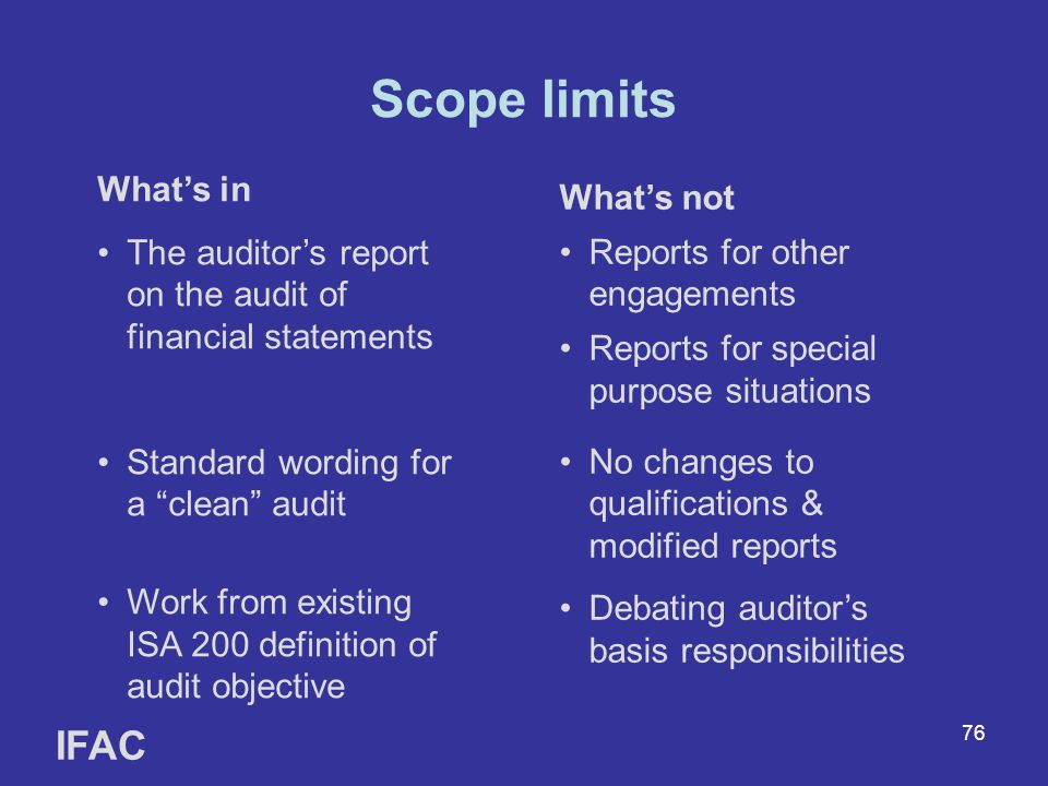 Scope limits IFAC What's in
