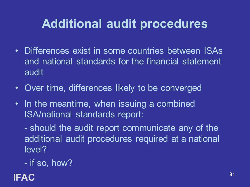 Additional audit procedures