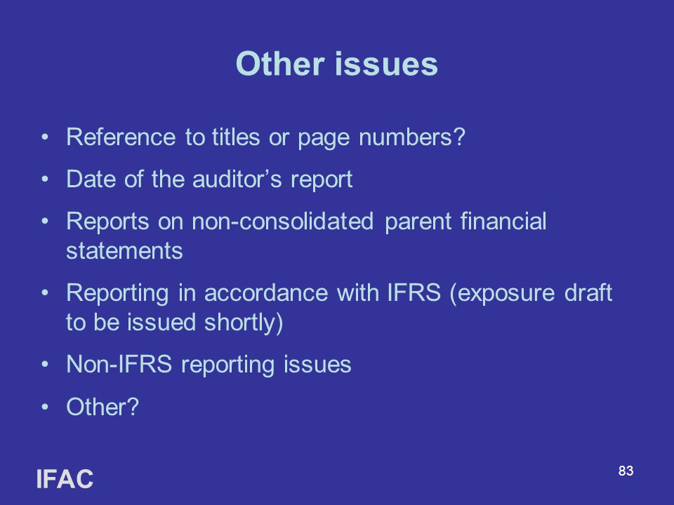 Other issues IFAC Reference to titles or page numbers