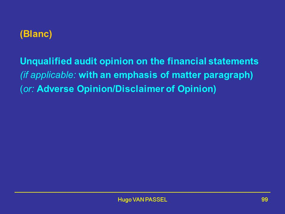 Unqualified audit opinion on the financial statements