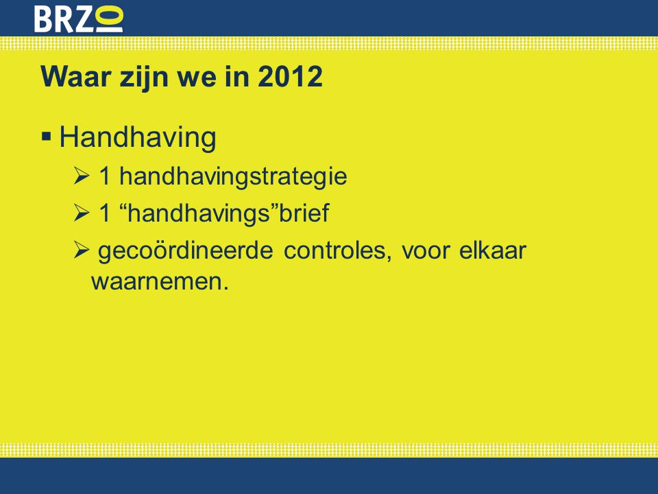 Waar zijn we in 2012 Handhaving 1 handhavingstrategie