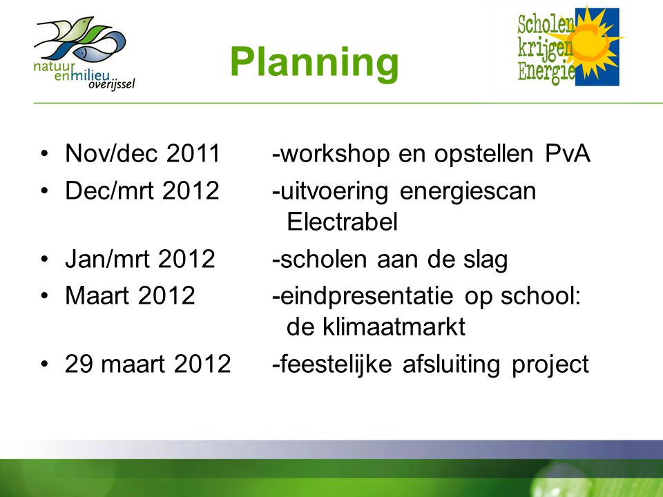 Planning Nov/dec workshop en opstellen PvA