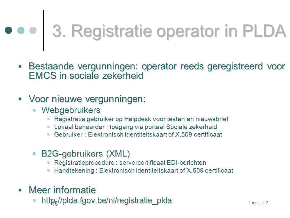 3. Registratie operator in PLDA