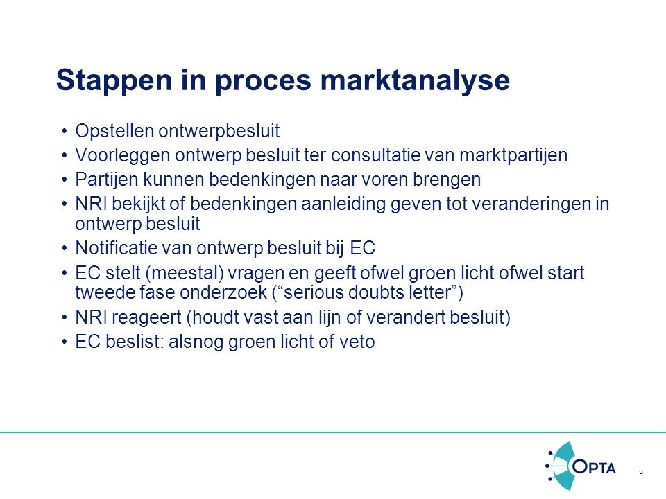 Stappen in proces marktanalyse