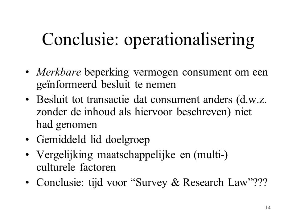 Conclusie: operationalisering