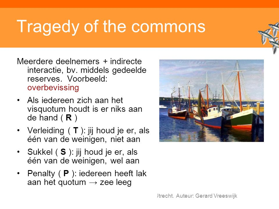 Tragedy of the commons Meerdere deelnemers + indirecte interactie, bv. middels gedeelde reserves. Voorbeeld: overbevissing.