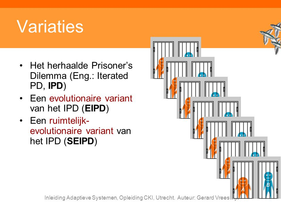 Variaties Het herhaalde Prisoner's Dilemma (Eng.: Iterated PD, IPD)