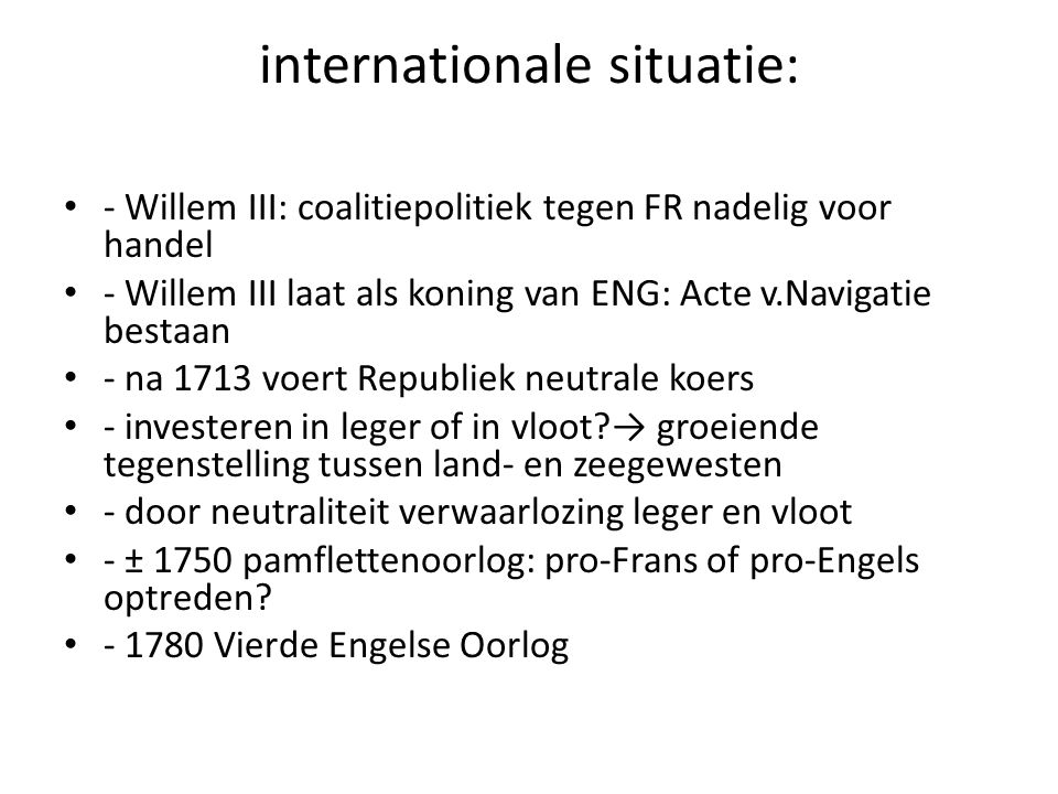 internationale situatie: