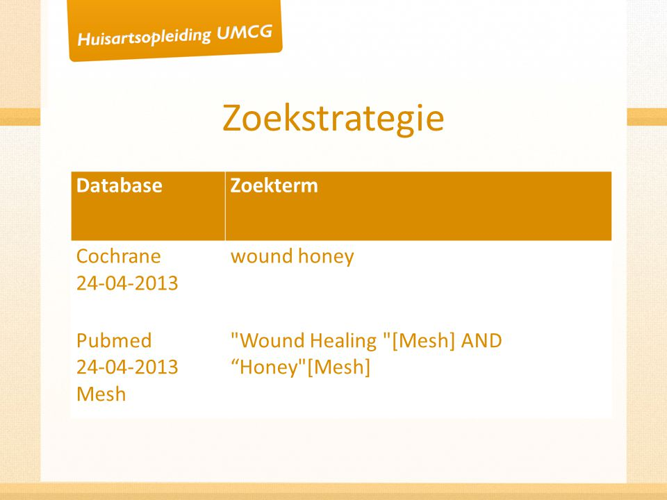 Zoekstrategie Database Zoekterm Cochrane 24-04-2013 wound honey Pubmed