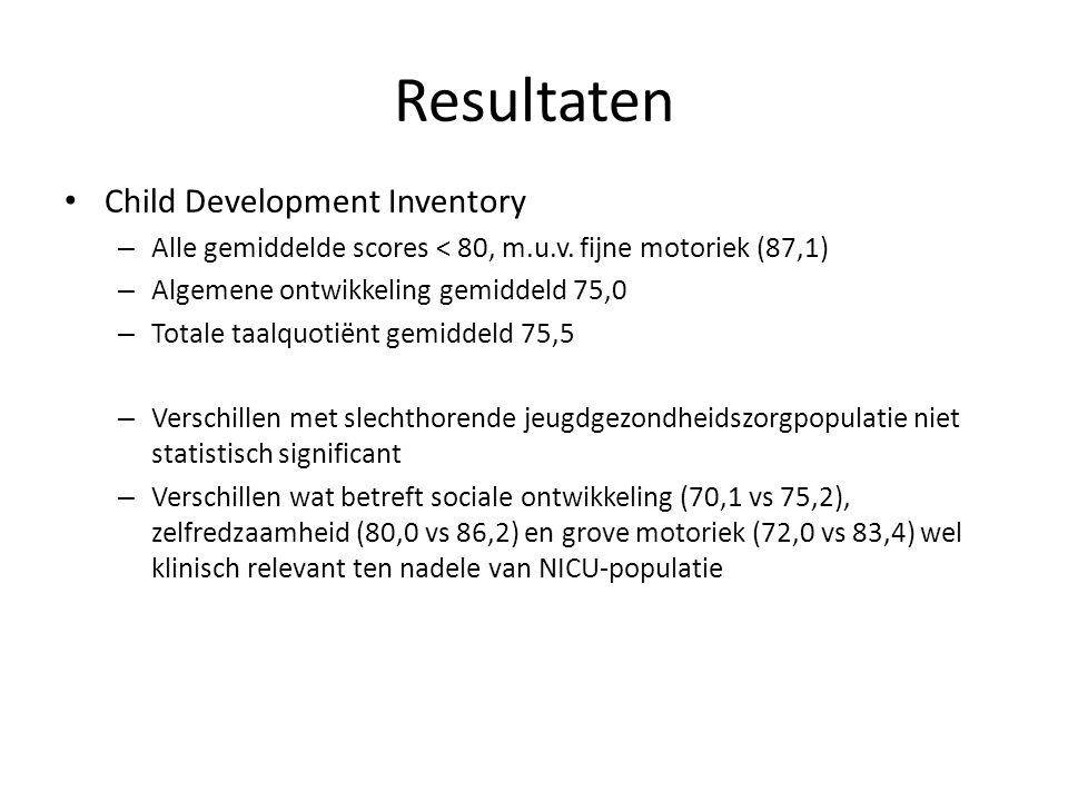 Resultaten Child Development Inventory