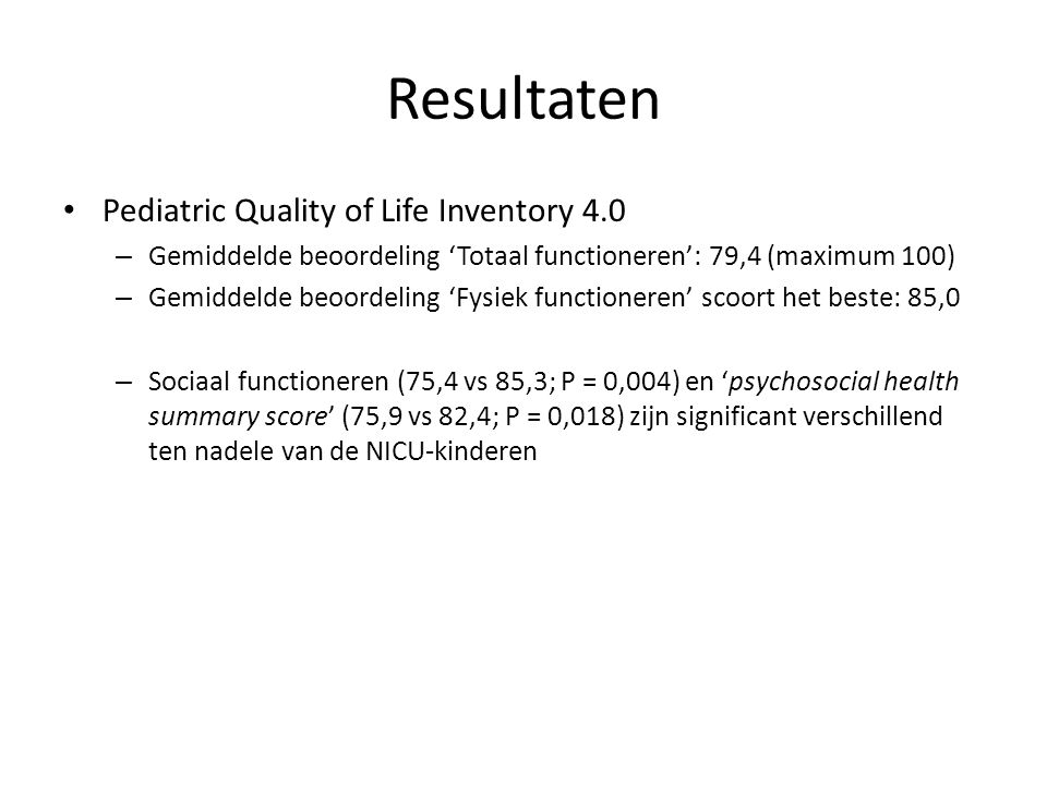 Resultaten Pediatric Quality of Life Inventory 4.0