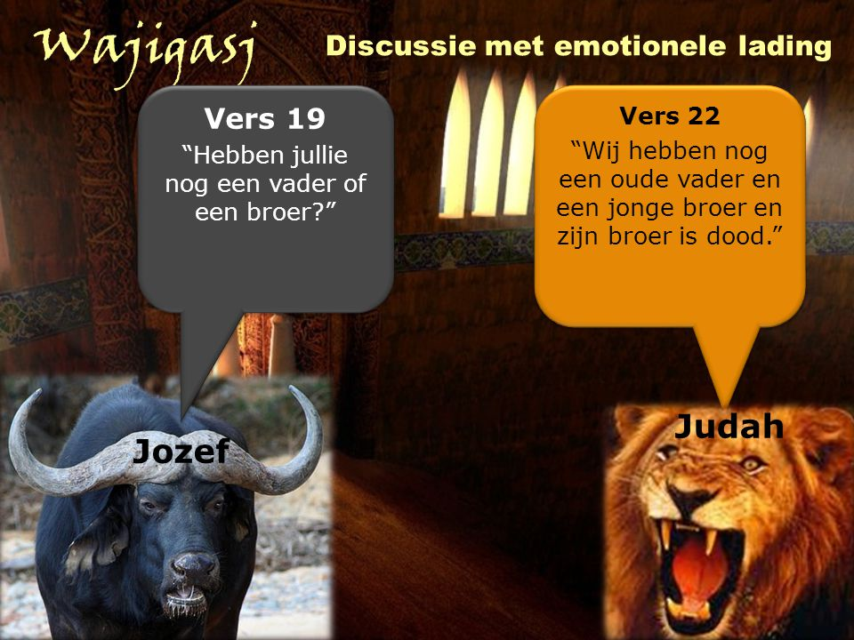 Wajigasj Judah Jozef Discussie met emotionele lading Vers 19 Vers 22