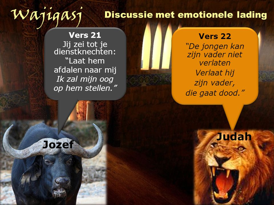 Wajigasj Judah Jozef Discussie met emotionele lading Vers 21