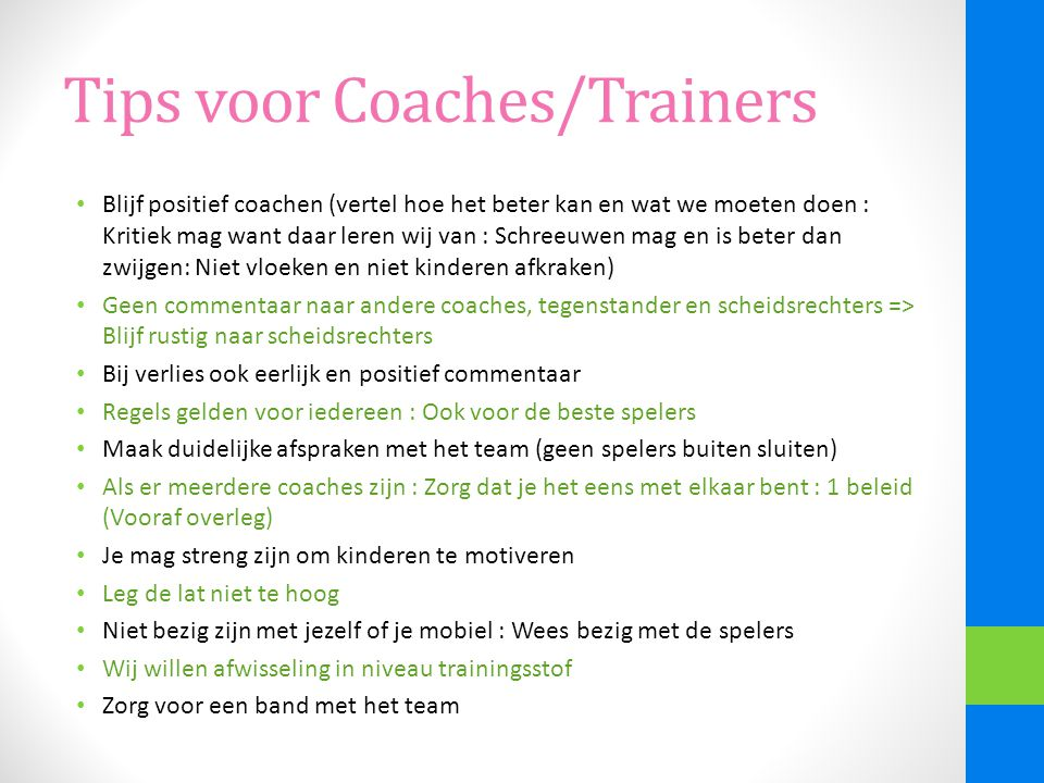 Tips voor Coaches/Trainers
