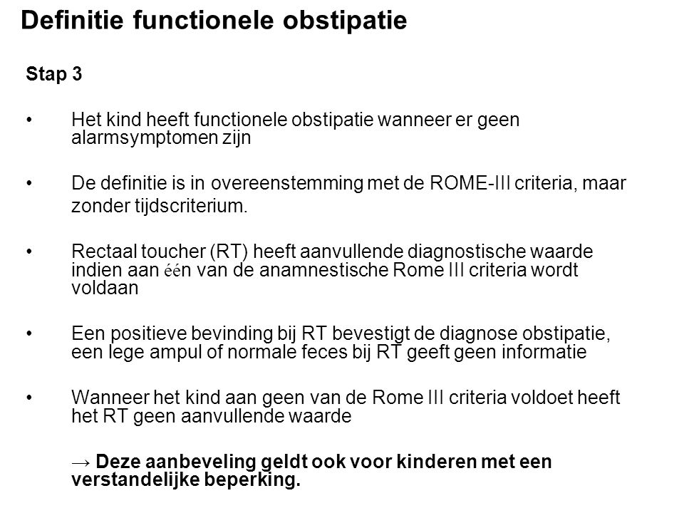 Definitie functionele obstipatie