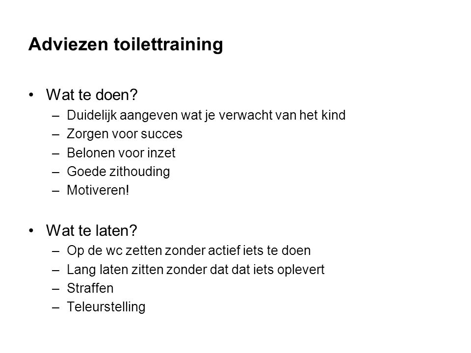 Adviezen toilettraining