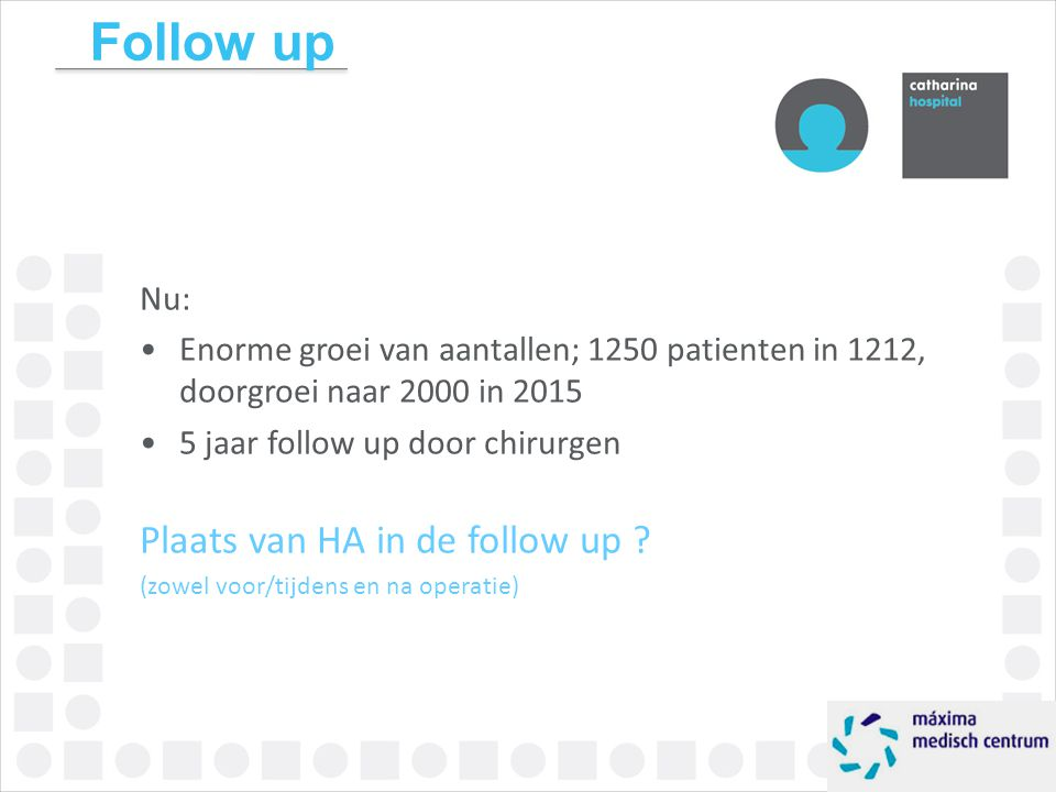 Follow up Plaats van HA in de follow up Nu: