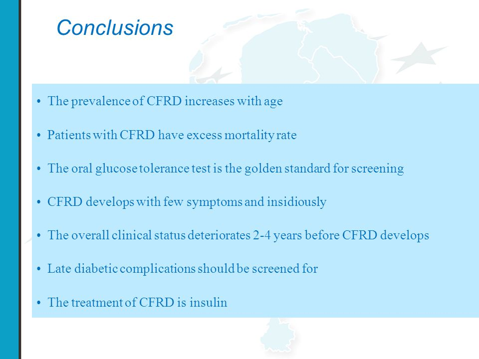 Conclusions The prevalence of CFRD increases with age