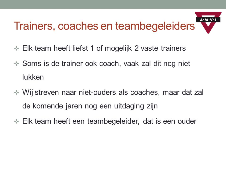 Trainers, coaches en teambegeleiders