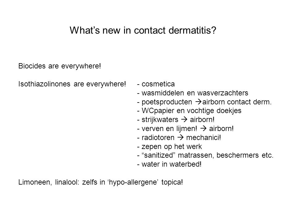 What's new in contact dermatitis