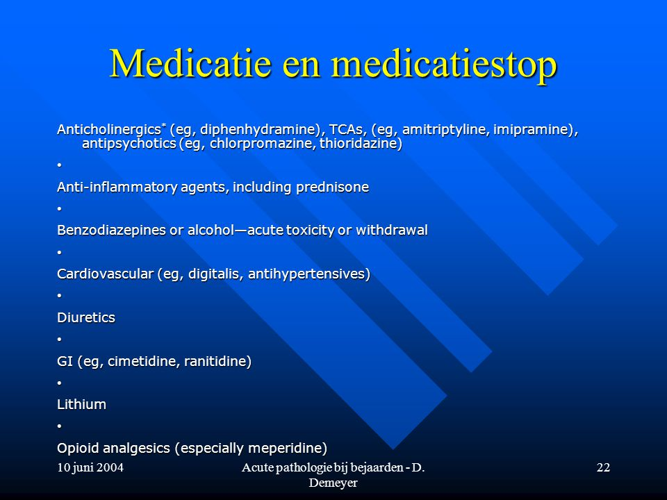 Medicatie en medicatiestop
