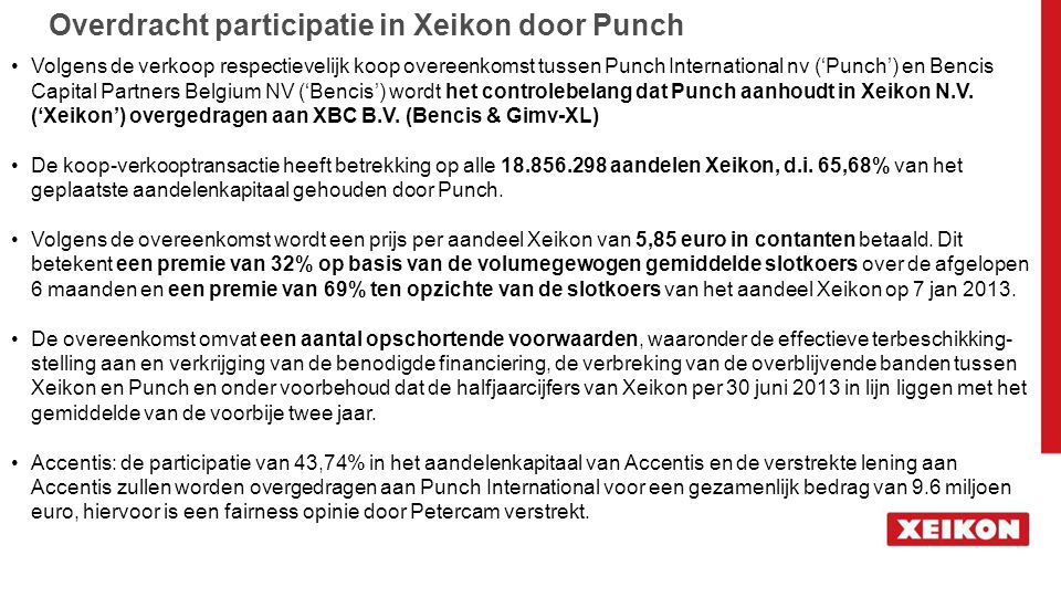 Overdracht participatie in Xeikon door Punch