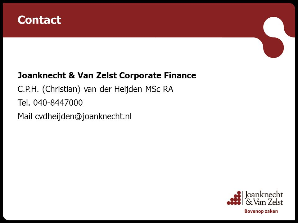 Contact Joanknecht & Van Zelst Corporate Finance