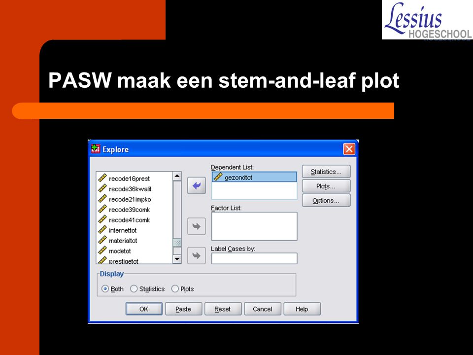 PASW maak een stem-and-leaf plot