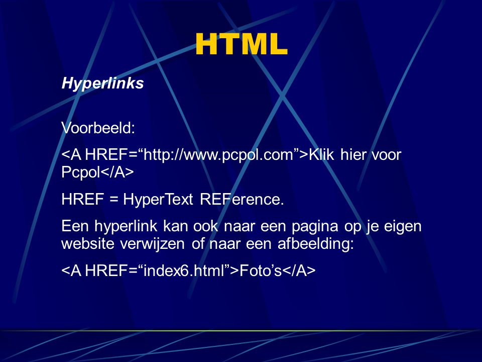 HTML Hyperlinks Voorbeeld: