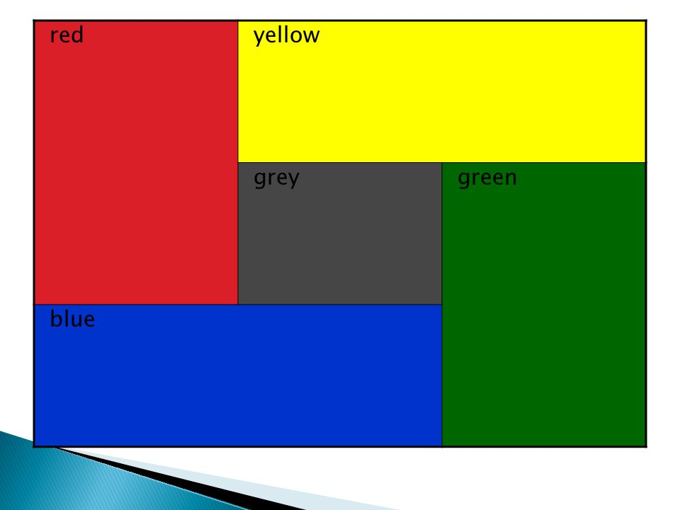 red yellow grey green blue