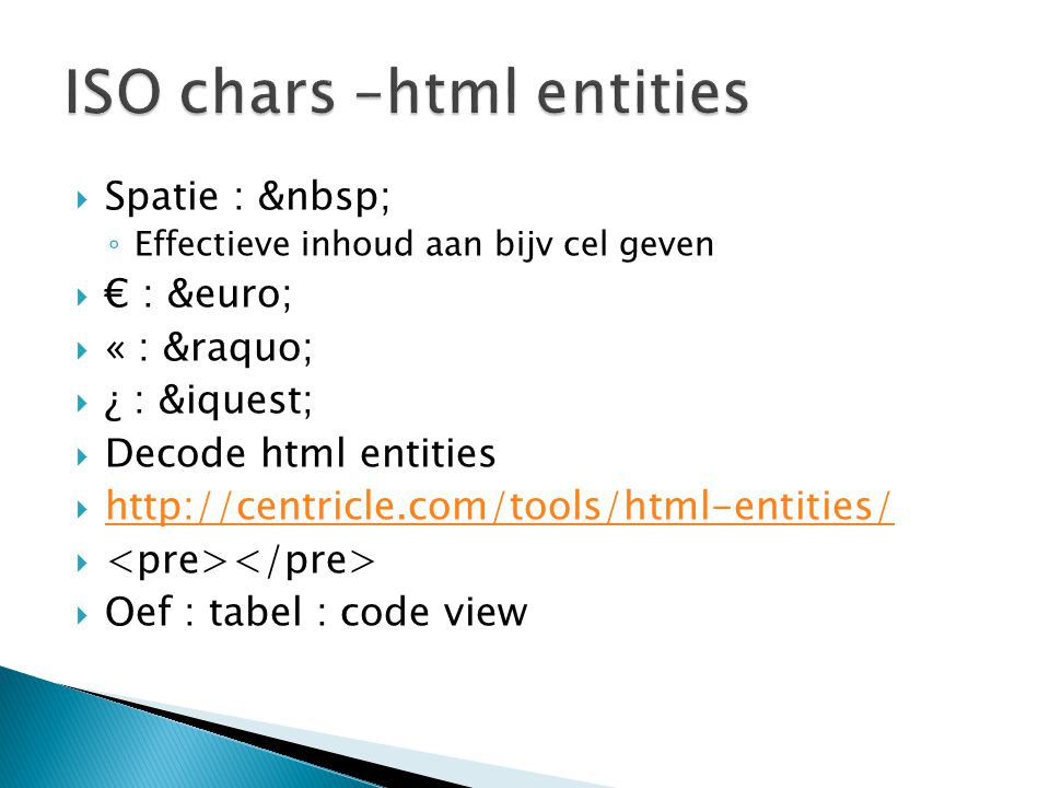ISO chars –html entities