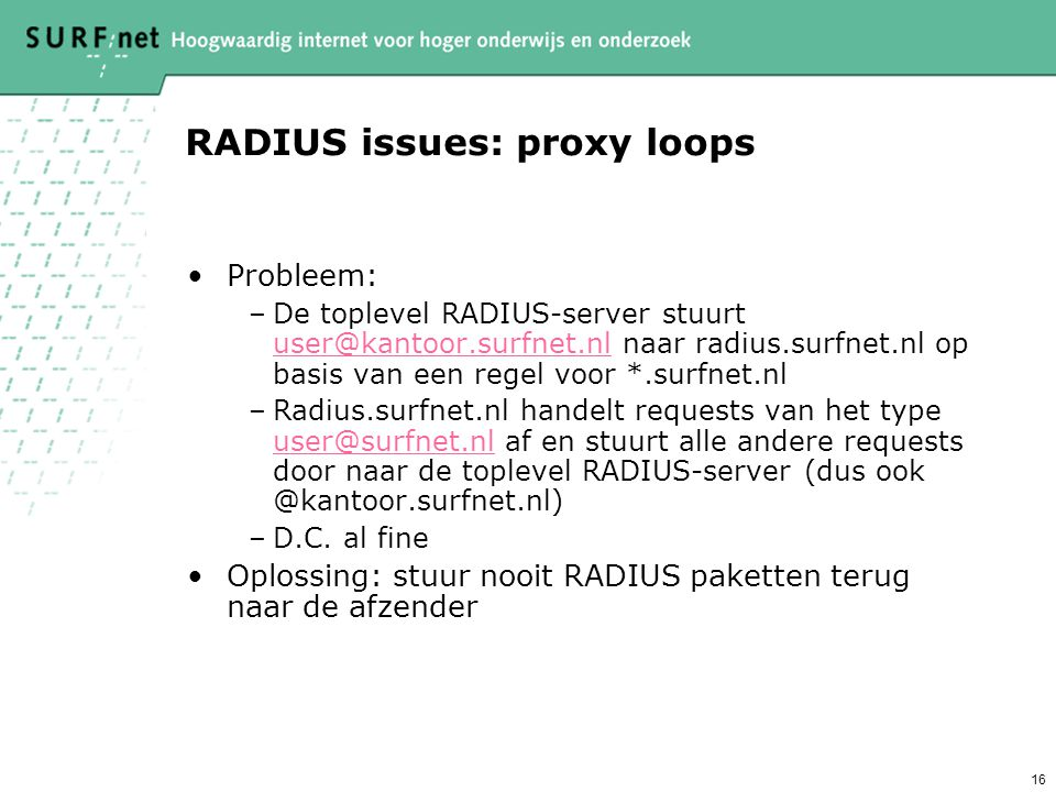 RADIUS issues: proxy loops