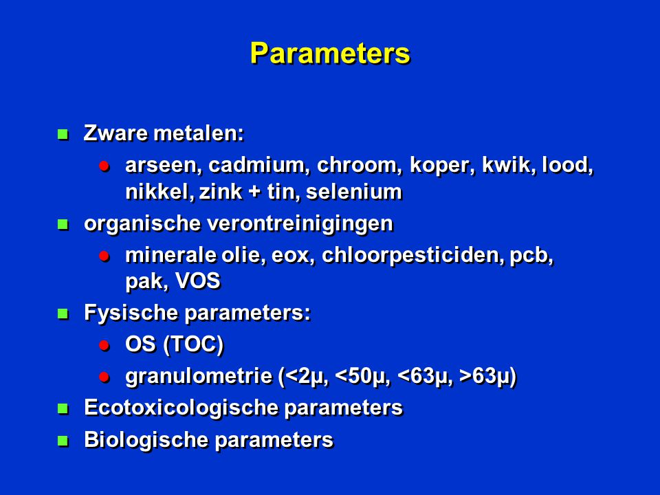 Parameters Zware metalen: